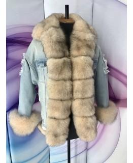 Джинсовая куртка с мехом песца арт. 2163