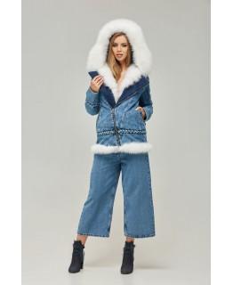 Джинсовая куртка-косуха с мехом песца арт. 2355