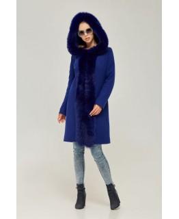 Стильное пальто с мехом песца цвета электрик арт. 2269