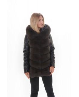 Кожаная куртка с мехом песца арт. 2201