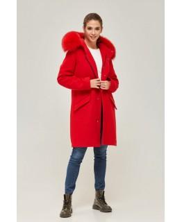 Стильное пальто с мехом песца на капюшоне красного цвета арт. 2361