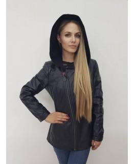 Стильная кожаная куртка с капюшоном арт. 2169