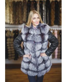 Хутряна куртка з чорнобурки, трансформер арт. 1314