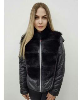 Куртка черного цвета с мехом ондатры арт. 2441