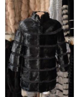 Стильна куртка-кожушок з хутра нутрії арт. 2238