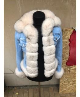 Куртка деним с мехом песца арт. 2082