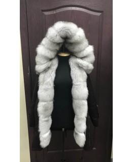 Короткая куртка-парка с мехом финского песца арт. 1046