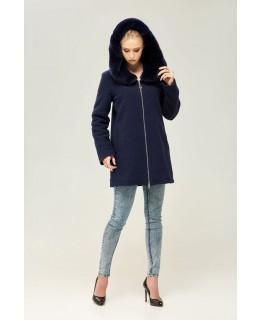 Стильное короткое пальто темно-синего цвета с капюшоном арт. 2271