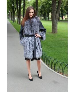 Пальто с мехом чернобурки арт. 3286