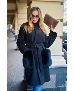 Пальто с меховыми карманами арт. 2029