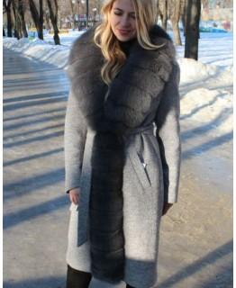 Пальто с мехом песца арт. 2647