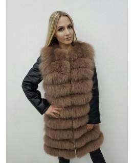 Меховая куртка-трансформер бежевого цвета арт. 2471