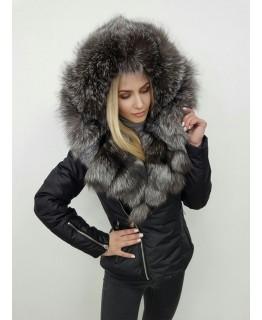 Зимняя куртка с капюшоном из меха чернобурки арт. 2465