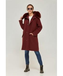 Пальто бордового кольору з хутра песця із капюшоном арт. 2363