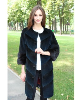 Нутриевое пальто с отделкой из меха ондатры арт. 3302