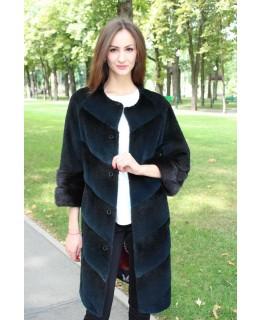 Нутрієве пальто з обробка з хутра ондатри арт. 3302