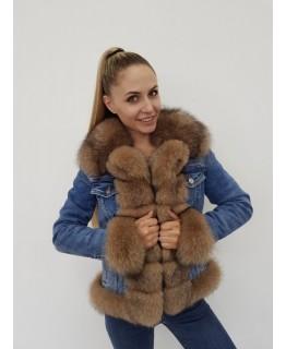 Джинсовая куртка с мехом песца арт. 2064