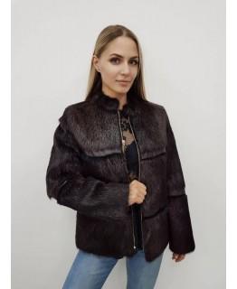 Куртка-полушубок из меха нутрии на молнии шоколадного цвета арт. 2237