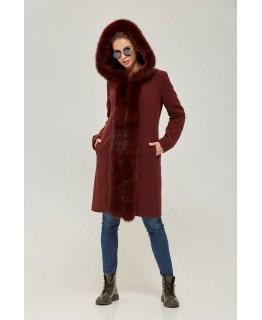 Пальто с капюшоном бордового цвета арт. 2266