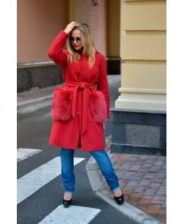 Пальто с меховыми карманами арт. 2028