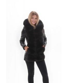 Кожаная куртка с капюшон арт. 2200