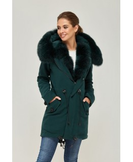 Парка-пальто зеленого кольору арт. 2353
