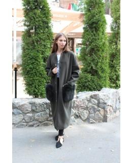 Стильне пальто з хутряними кишенями арт. 2190