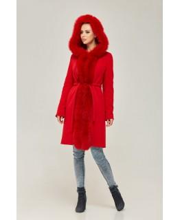 Стильное пальто с мехом песца красного цвета арт. 2268