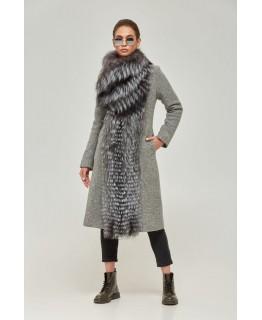 Серое пальто с мехом чернобурки арт. 2257