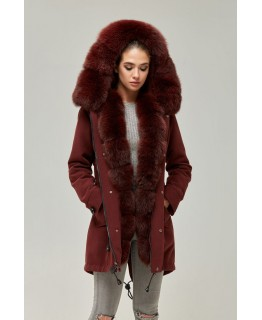 Парка-пальто бордового кольору арт. 2352