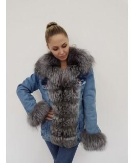 Джинсова куртка з хутра чорнобурки арт. 2059