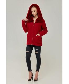 Стильне коротке пальто червоного кольору з капюшоном арт. 2273