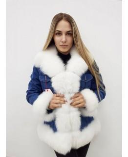 Джинсовая куртка с мехом песца белого цвета арт. 2410