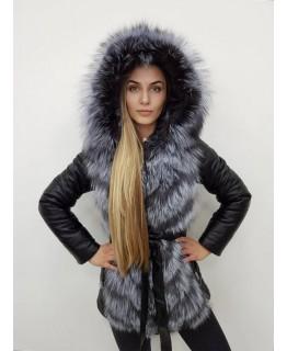 Кожаная куртка с капюшоном арт. 2199