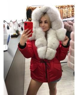 Хутряна куртка червоного кольору арт. 3319