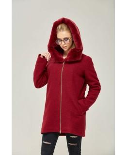 Пальто с капюшоном красного цвета арт. 2270