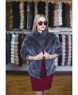 Куртка из меха кролика Рекс серого цвета арт. 1269