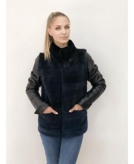Куртка трансформер из нутрии с кожаными рукавами арт. 2044