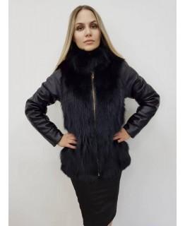 Чорна куртка з хутра песця, трансформер арт. 2314