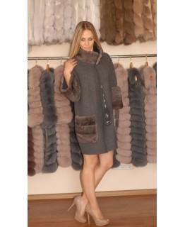 Пальто з альпака з норкою арт. 1334