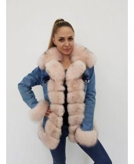Джинсовая куртка с мехом песца арт. 2063