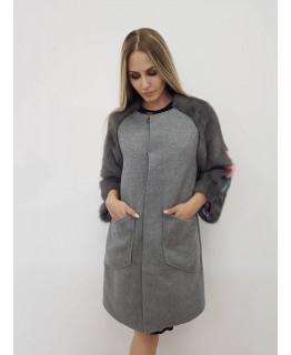 Стильне кашемірове пальто сірого кольору арт. 2105
