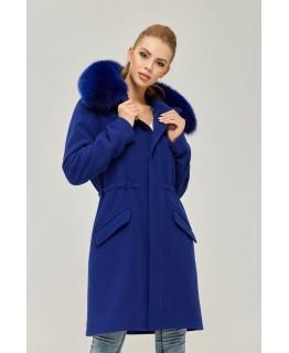 Стильное пальто с мехом песца цвета синий электрик арт. 2360