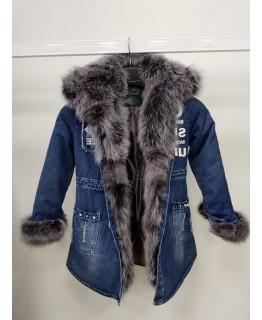 Детская джинсовка с натуральным мехом арт. 2561