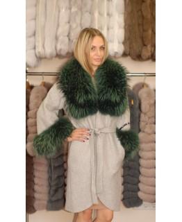 Пальто з альпака з єнотом арт. 1333