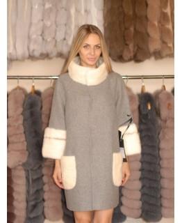 Пальто из альпака серого цвета с норкой арт. 1336