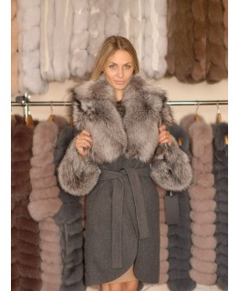 Пальто из альпака с роскошным мехом чернобурки арт. 1340