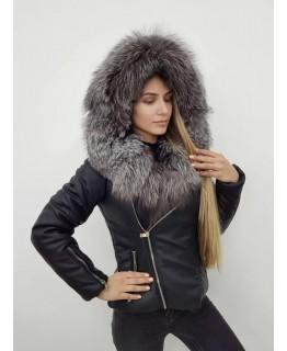 Стильная куртка с мехом чернобурки арт. 2416
