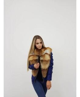 Стильная куртка с мехом лисы арт. 1960
