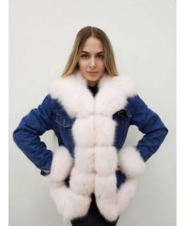 Джинсовая куртка с мехом песца арт. 2409